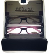 Ellen Tracy Womens Readers 2 Pack Rectangle Blk & Gray/Pink Plastic 1.5 ... - $22.49