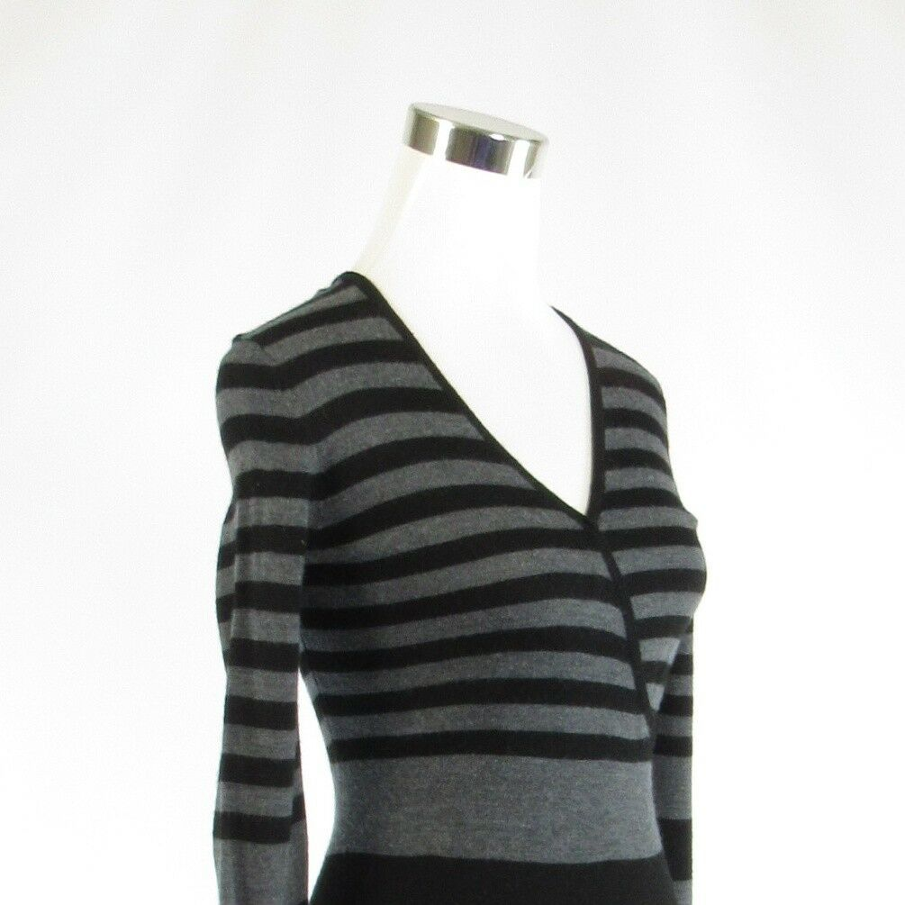 Gray black striped ANN TAYLOR LOFT stretch long sleeve sweater dress XXS