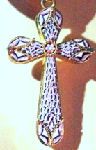 """NEW Very Unique Mosaic Cross Necklace - Special Find """"Made in Florence, ... - $95.00"""