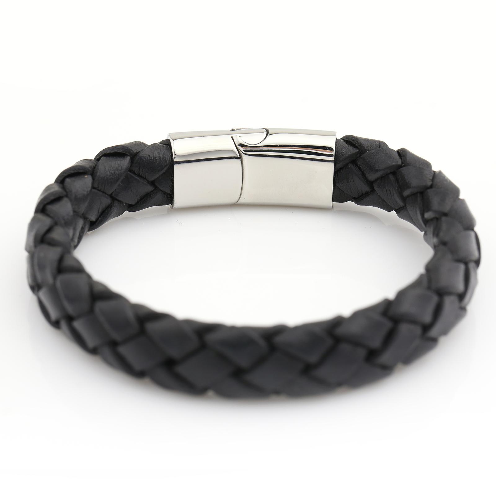 UNITED ELEGANCE Trendy Unisex Stainless Steel Braided Leather Bracelet