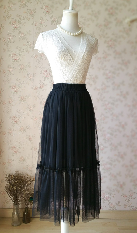 Black A-line 2 layer Tulle Bloom Pleated Mid-calf Fashion Tulle Skirt Any Size