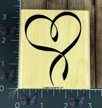 Stampin' Up! Ribbon Heart Rubber Stamp 2004 Wood Mount #Y146 - $3.22