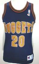 Vintage 90s Denver Nuggets LaPhonso Ellis#20 Champion NBA Jersey Retro Mens 36 S - $29.39