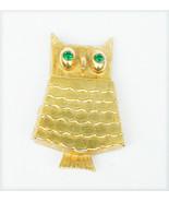 Avon owl locket glace perfume holder green rhinestone eyes gold tone - $6.44