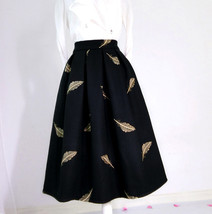 Black Winter Wool A Line Pleated Skirt High Waist Midi Skirt with Wing Patterns image 4
