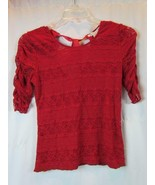 NWT American Rag CIE Dark Red Tie Back Short Sleeve Lace Blouse S Org $4... - $26.59