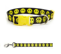 Smiley Face Dog Collar & Lead Sets Cute Yellow Black Happy Dogs Walking Xsmall - $16.84