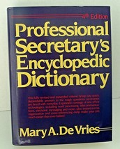 Professional Secretary Dictionary Encyclopedia Mary DeVries Ref 4th Edit... - $15.83