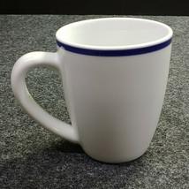 Oneida Maitre d' Coffee Mug Cup, White w/ Blue Top Band, Porcelain - $9.90
