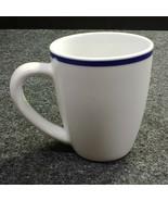 Oneida Maitre d' Coffee Mug Cup, White w/ Blue Top Band, Porcelain - $13.46