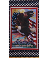 "23"" X 44"" Bald Eagle Flag USA America the Beautiful Cotton Fabric Panel ... - $8.27"
