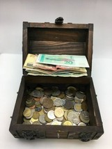 Wood Treasure Chest Mixed World Foreign Coin Paper Money Bank Note 3lb Box image 1