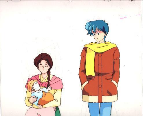 """Ashita e Free Kick """"Syun/Woman/Baby"""" Anime Cel (0196)"""