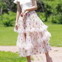 Champagne Tiered Tulle Skirt Outfit Floral Layered Tulle Skirt Princess Skirt image 6