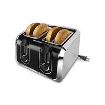 4 Slice Toaster Stainless Steel Black Bagel Four Slices Kitchen Wide Toa... - $58.59