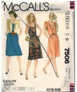 7506 Vintage Mccalls Nähmuster Misses Top Genähte Jacke Kleid Oop 8 - 12 - $6.92