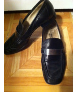 Bloomingdale's Sz 37 6.5 Black Leather Silver A... - $14.00