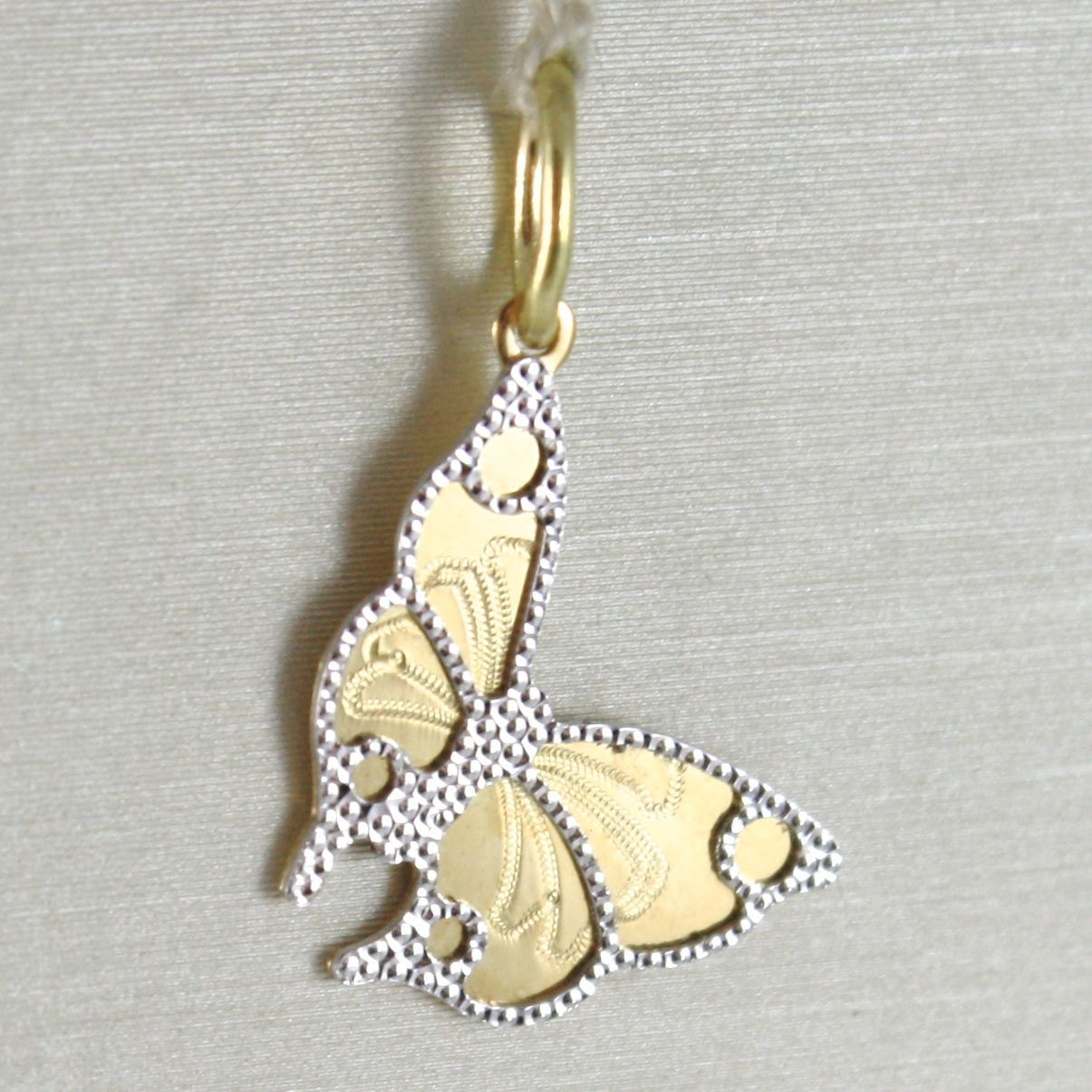YELLOW GOLD PENDANT WHITE 750 18K, BUTTERFLY DOUBLE LAYER, PENDANT, 2.2 CM