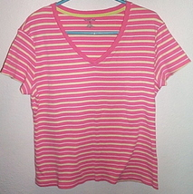 Womens North Crest Pink White Yellow Short Sleeve Stripe Top Size XL - $4.95