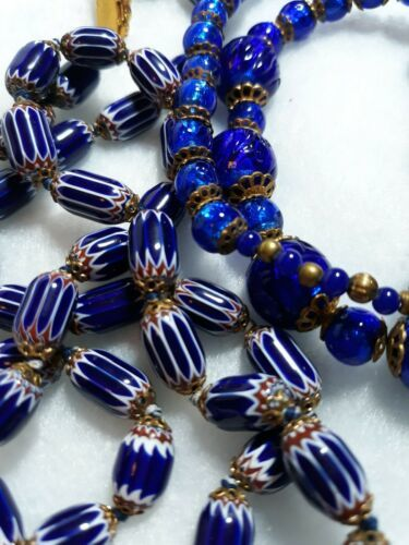 Primary image for ANTIQUE CANE ART GLASS POURED GLASS BLUE NECKLACE VINTAGE ESTATE JEWELRY LOT