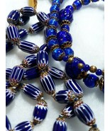 ANTIQUE CANE ART GLASS POURED GLASS BLUE NECKLACE VINTAGE ESTATE JEWELRY... - $300.00
