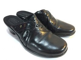 CLARKS glossy black leather slip on open heel comfort casual clogs 8.5 F... - $24.70