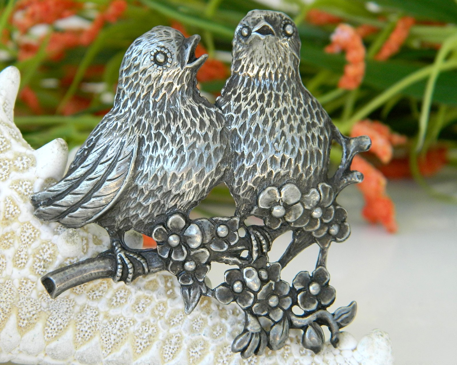 Primary image for Vintage Birds Pewter Brooch Pin Songbirds Flowers Circa 1940