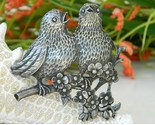 Vintage birds pewter brooch pin  songbirds flowers circa 1940 thumb155 crop