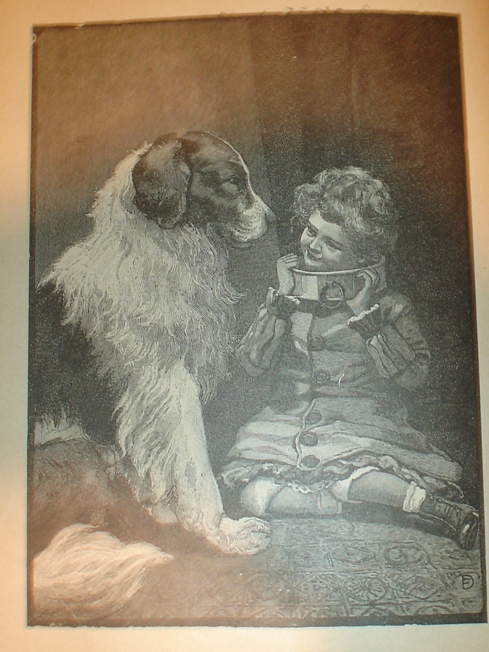 1899 Print of a Dog and a Child in Bondage