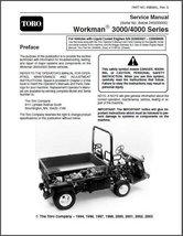 TORO Workman 3000 / 4000 Series Utility Vehicles Repair Service Manual CD -- UTV - $12.00