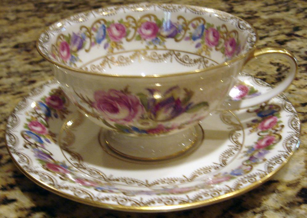 Rosenthal VIENNA Footed Cup and Saucer Elaborate Flower Patt