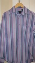 Mens Shirt Van Heusen Size M 15-15 1/2 100 Percent Cotton Striped Blues ... - $10.99