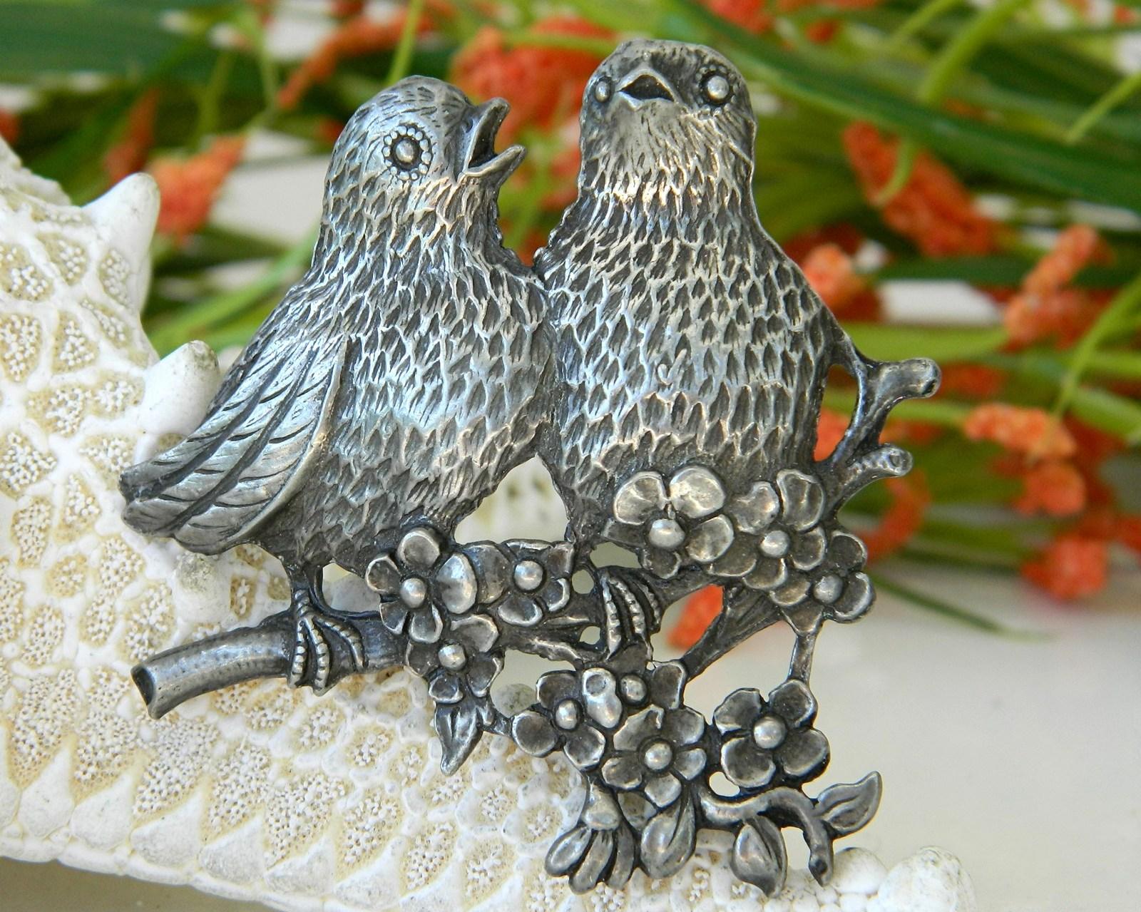 Vintage Birds Pewter Brooch Pin Songbirds Flowers Circa 1940
