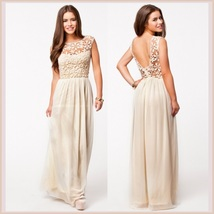 Crochet Top Floor Length Formal Sleeveless Backless Chiffon Evening Prom Gown  - $53.95