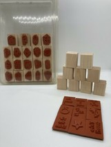 Stampin' Up! Mini Mates 28 pc All Occasions Wood Mount Rubber Stamps No ... - $4.82