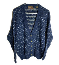 Vintage Authentic Issue Wool Blend Cardigan Sweater Blue Size L - $29.65