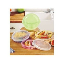 containers 4 COOK SERVE AND STORAGE DIVIDED DURABLE PLASTIC PLATES W/LIDS - $20.73