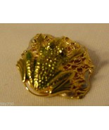 Unusual Jewelry Brooch Pin Jumping Frog on Lily Pad Gold-tone & Enamel - $22.98