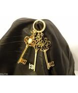 Gold Tone Skeleton Key Long Pendant(s) Set of 3 - $13.99