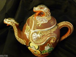 Vintage Dragonware Moriage Red & Gold Teapot Bird Mark Made in Japan - $124.98