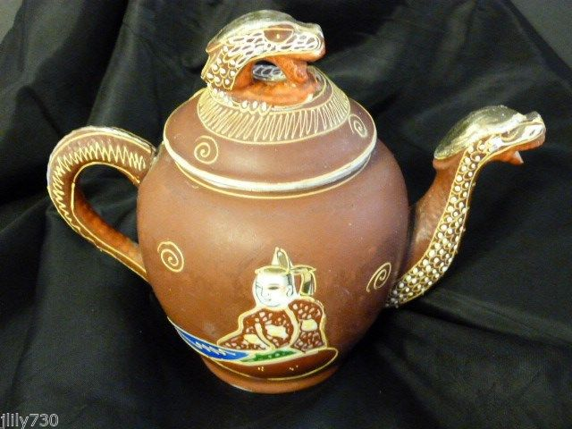 Vintage Dragonware Moriage Red Gold Teapot Bird Mark