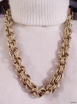 """CORO Necklace Heavy Braided Chain Links 26"""" Vintage Signed - $33.95"""