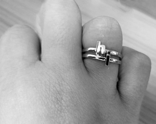 Yellow Gold Initial Letter X Stackable Ring