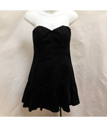 Express Dress 6 Black Strapless Corset Sweetheart Neckline Tiered Mini - $24.48