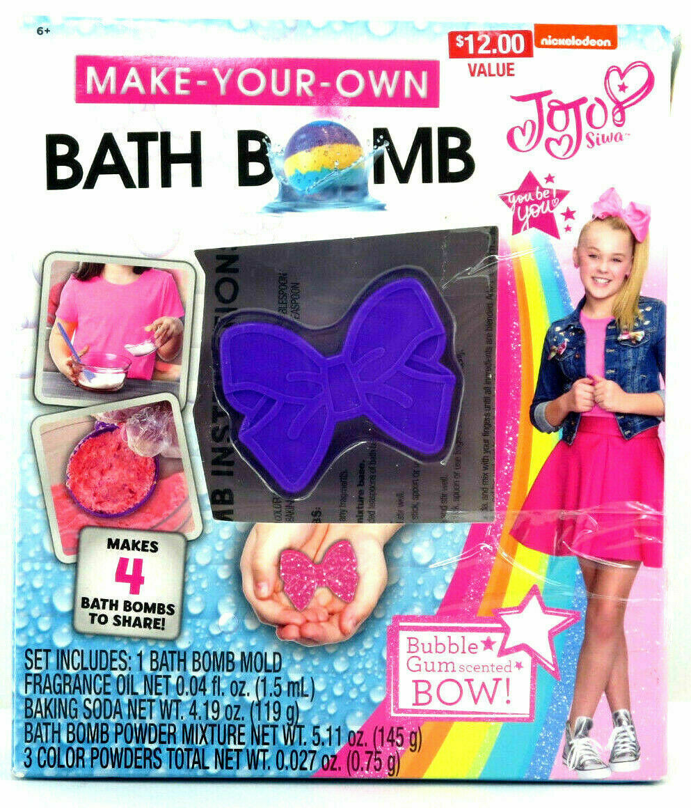 Build Your Own Bath Bomb Kit JoJo Siwa Girls With Bubble Gum Scented Bow NIB
