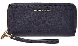 Michael Michael Kors Womens Bedford Travel Continental Leather Wallet, Blue image 1