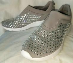 Michael Kors Grey Rhinestones Stretch Slip-On Ace Trainers Sneakers 8.5 M - $29.70
