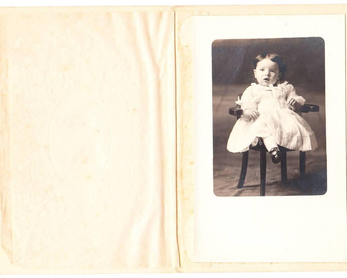 Vintage Photo Photograph Embossed Folder Little Girl