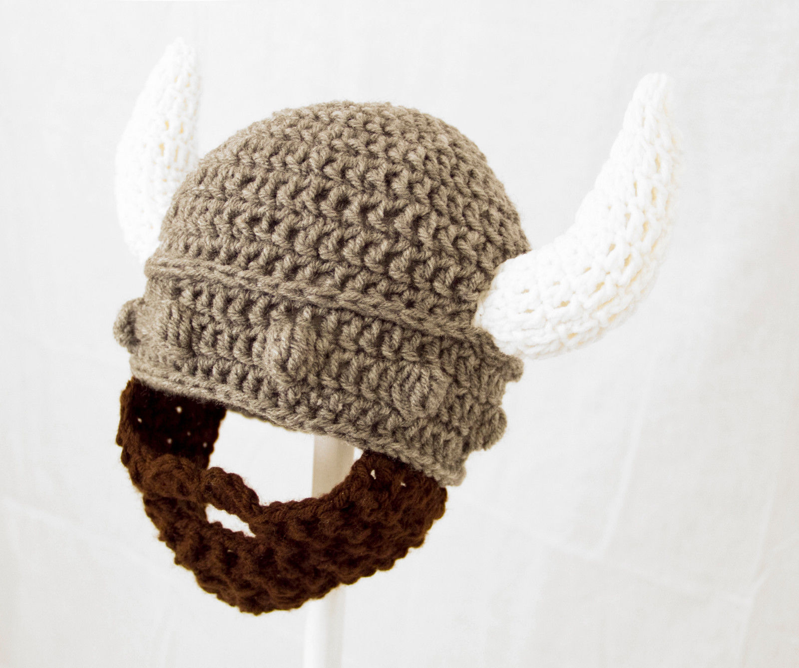 Knitting Patterns For Viking Hat : Viking Beard Hat, Gray Helmet Knit / Crochet Beard Beanie baby-adult - Hats
