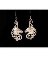 Large sterling earrings - Magical Unicorn - silver Mystical Fantasy dang... - $95.00